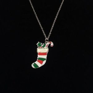 Silver Plated Christmas Stocking Necklace